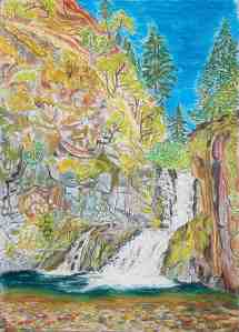 "Skoonichuck Falls, Columbia River Gorge, Oregon, ink and pastels, 15""X22"""